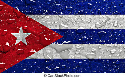 flag of Cuba with rain drops