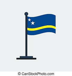 Flag Of Curacao. Flag Stand. Vector Illustration