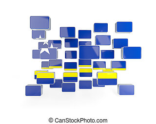 Flag of curacao, mosaic background