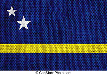 Flag of Curacao on old linen