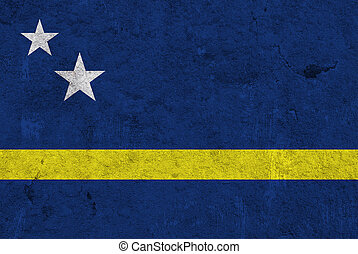 Flag of Curacao on weathered concrete