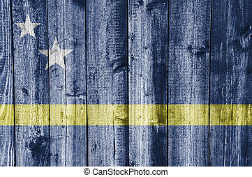 Flag of Curacao on weathered wood