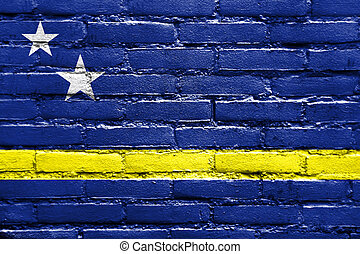 Flag of Curacao, painted on brick wall