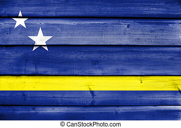 Flag of Curacao, painted on old wood plank background