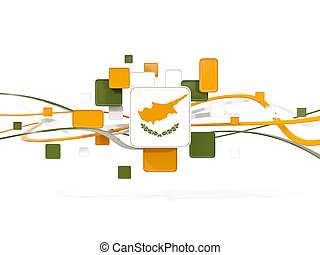 Flag of cyprus, mosaic background with lines
