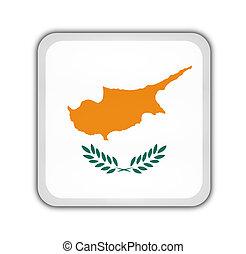 flag of cyprus, square button on white background
