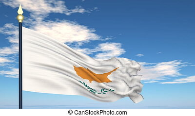 Flag Of Cyprus on the background of the sky and flying...