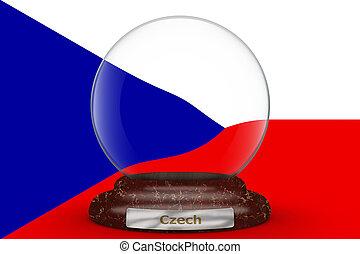 Flag of Czech on snow globe