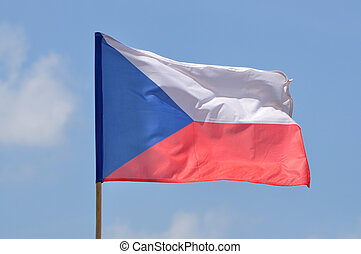 Flag of Czech Republic against blue sky
