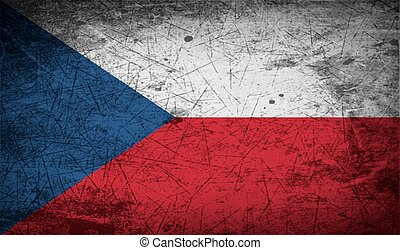 Flag of Czech Republic with old texture. Vector