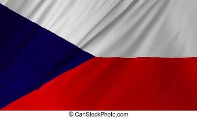 Flag of Czech waving in the wind 2 in 1