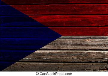Flag of Czechoslovakia on wood