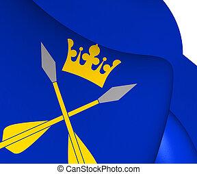 Flag of Dalarna County, Sweden. 3D Illustration.