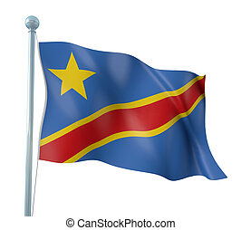 Flag of Democratic Congo - 3D Illustration of Detailed Flag...
