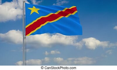 Flag of Democratic Republic of Congo against background of...