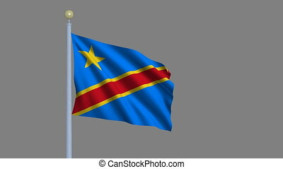 Flag of Democratic Republic of Congo with alpha matte
