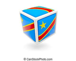 Flag of democratic republic of the congo. Cube icon - Cube...