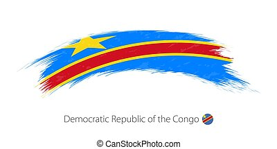 Flag of Democratic Republic of the Congo in rounded grunge brush stroke.