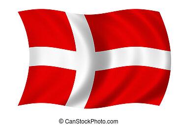 flag of denmark - waving flag of denmark