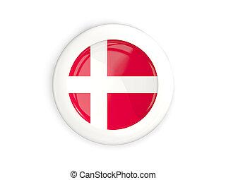 Flag of denmark, glossy round button
