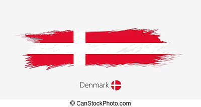 Flag of Denmark, grunge abstract brush stroke on gray background.
