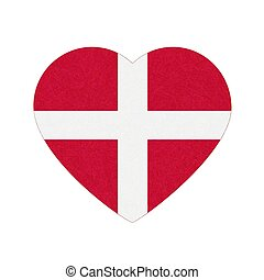 Flag of Denmark in heart shape, Scandinavian northern country, isolated Danish banner with scratched texture, grunge.