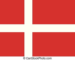Flag of Denmark in official rate and colors