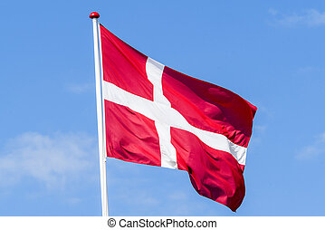 Flag of Denmark in red and white colors