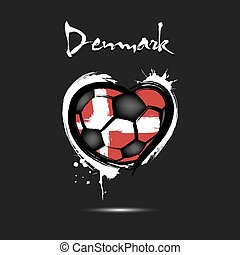 Flag of Denmark  in the form of a heart