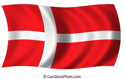 flag of denmark in wave