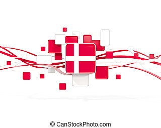 Flag of denmark, mosaic background with lines