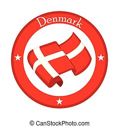 Flag of Denmark on a label