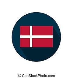 Flag of Denmark on a white background. Vector illustration.