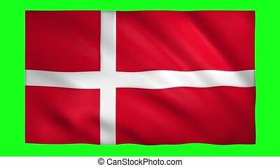 Flag of Denmark on green screen for chroma key