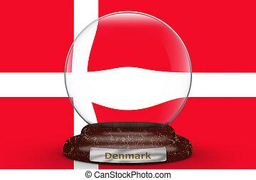 Flag of Denmark on snow globe