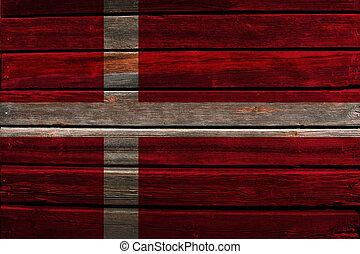 Flag of Denmark on wood