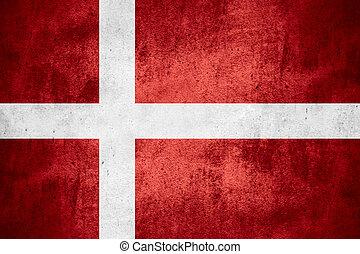 flag of Denmark or Danish banner on rough pattern texture background