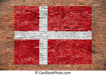 Flag of Denmark painted on brick wall