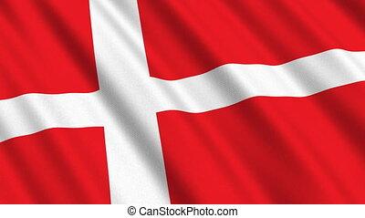 Flag of Denmark, seamless loop