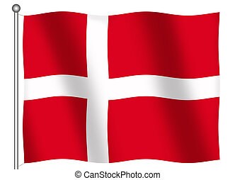 Flag of Denmark Waving
