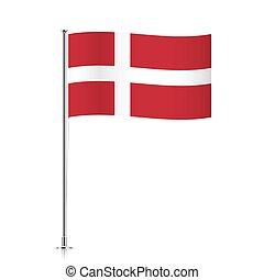 Flag of Denmark waving on a metallic pole.