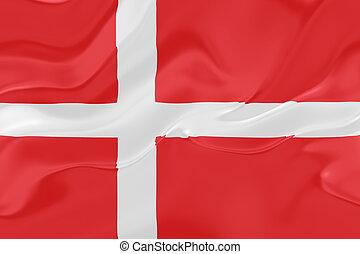 Flag of Denmark, national country symbol illustration wavy fabric