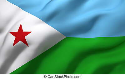 Flag of Djibouti blowing in the wind