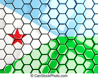 Flag of djibouti, hexagon mosaic background
