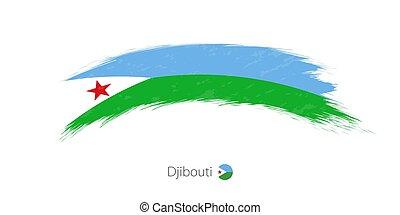 Flag of Djibouti in rounded grunge brush stroke.