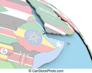 Flag of Djibouti on globe