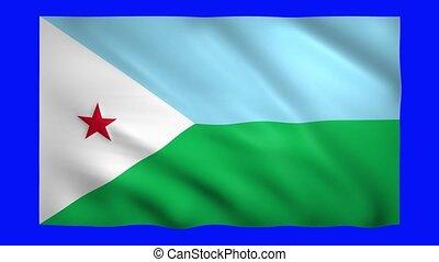 Flag of Djibouti on green screen for chroma key