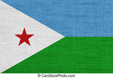 Flag of Djibouti on old linen