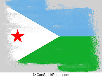 Flag of Djibouti painted with brush