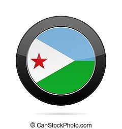 Flag of Djibouti. Shiny black round button.
